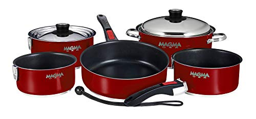 Magma Products, A10-366-MR-2-IN Gourmet Nesting 10-Piece Red Stainless Steel Induction Cookware Set with Ceramica Non-Stick (Best Non Stick Cookware In The World)