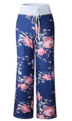 2018 Estivo Donna Trousers da Fitness Yoga Jogging Casual Larghi Pantaloni con Coulisse Sports Moda Mimetico Stampa Fiore Beach Pants Blu