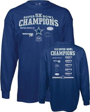Amazon.com   Dallas Cowboys -Navy- 5X Super Bowl Champions Commemorative  Long Sleeve T-Shirt   Athletic T Shirts   Sports   Outdoors 2a575182b