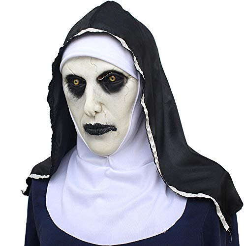 Aolvo Ugly Mask, Natural Latex Evil and Terror Face Mask for Man and Women, Realistic Horrible Halloween Masquerade Cosplay Costume Mask Party Decoration Props - Evil Nun Mask