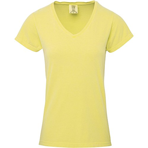(Comfort Colors Womens/Ladies V Neck T-Shirt (S) (Butter))