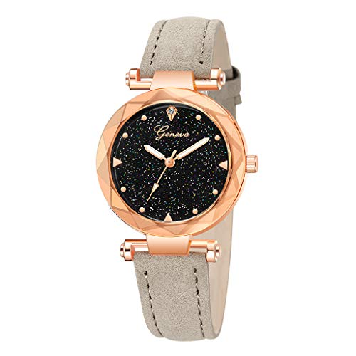 (Londony✡Women's Watches Leather Rhinestone Inlaid Quartz Jelly Wristwatch Geneva Chronograph Watch with Crystals Link)