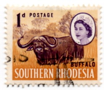 Southern Rhodesia Postage Stamp Single 1964 Cape Buffalo Queen Elizabeth II Issue 1 Pence Scott #96