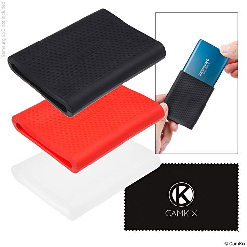 - CamKix Sleeve Compatible with Samsung T5 / T3 / T1 SSD - Set of 3 - Silicone Scratch and Shock Proof Case - Red, Black and Transparent - Non-Slip Rubber Skin for Your External Drive