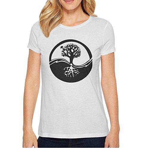 HiOne Womens Yinyang Tree Design Short Sleeve T-Shirt Crewneck Tees Tops for Women ()