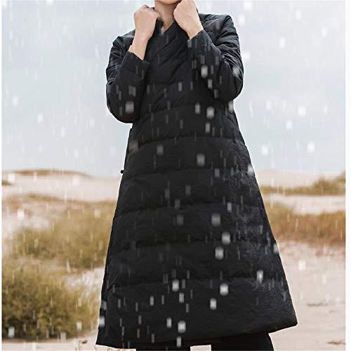 Ladies Bianca Lqyrf Lunghe Sottile Collo Piumino Retro Fibbia Sezione Maniche 90 Donne Nero Cinese Poliestere Winter Anatra 55wqnr6H