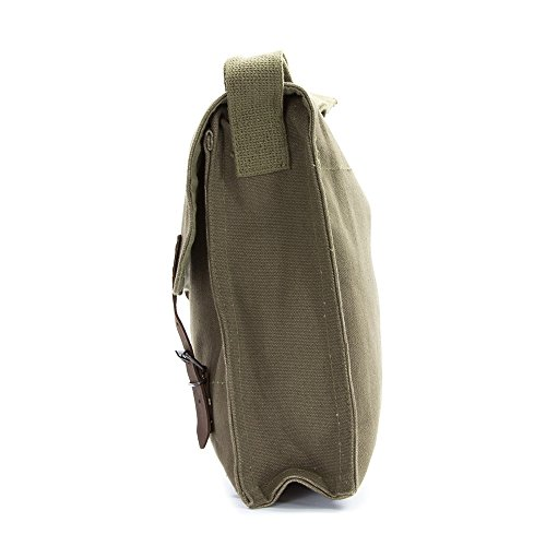 LGBT Love (Rainbow Heart) Army Heavyweight Canvas Medic Shoulder Bag in Olive & White by Grab A Smile (Image #2)
