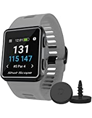 Shot Scope V3 GPS Watch - F/M/B + Hazard Distances - Automatic Shot Tracking - Free Apps - Over 100 Tour Level Stats, Including Strokes Gained - 36,000+ Pre-Loaded Courses - No Subscriptions (Grey)