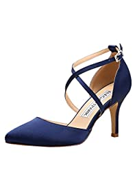 Elegantpark HC1901 Women Pointed Toe High Heel Pumps Straps Satin Wedding Bridal Evening Party Dress Shoes