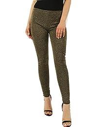 Ladies Celeb Inspired Knitted Lurex Metallic Leggings CA Size 4-10