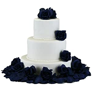 TheBridesBouquet.com Navy Silk Rose Cake Flowers - Reception Decoration 3