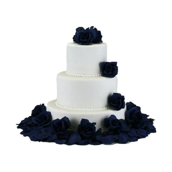 TheBridesBouquet.com Navy Silk Rose Cake Flowers - Reception Decoration