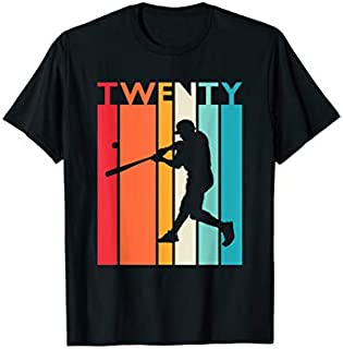 20th Birthday Gift Vintage Baseball  for 20 Year Old T-shirt | Size S - 5XL