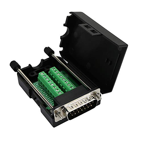 Twinkle Bay D-SUB DB15 Male 15 Pin Jack Port to Terminal Breakout Board Connector, 2 Row Plug with Case ()