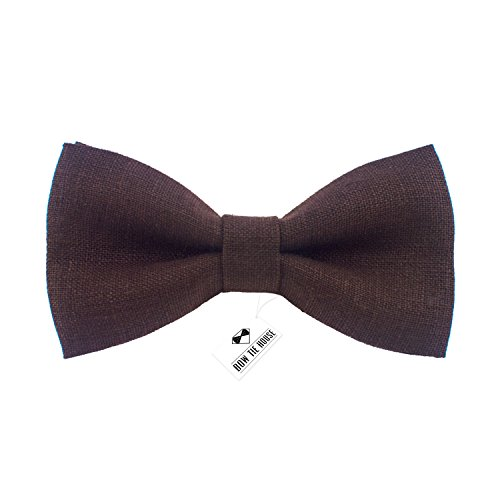 Linen Classic Pre-Tied Bow Tie Formal Solid Tuxedo, by Bow Tie House (Small, Umbra ()