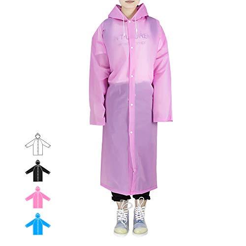 Hapshop Portable Waterproof Raincoat,Rain Poncho,Rainwear for Adult (Pink-1Pack) ()