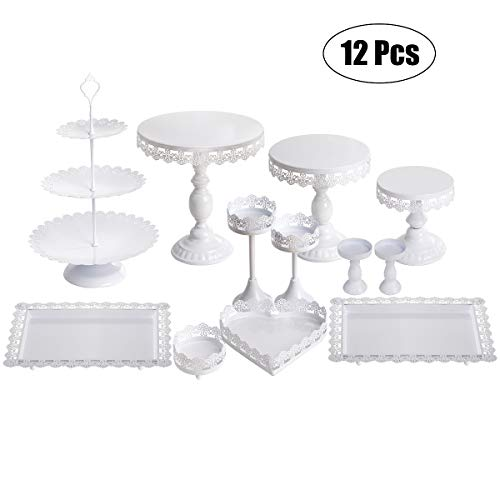 (Set of 12 Pieces White Cake Stand and Pastry Trays Metal Cupcake Holder Fruits Dessert Display Plate for Baby Shower Wedding Birthday Party)