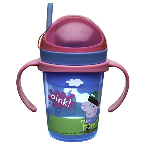 Peppa Pig Zak!Snak Snack & Drink Container with Handles, 4 oz. Snack & 8 oz. Drink, BPA-free and Break-resistant Plastic
