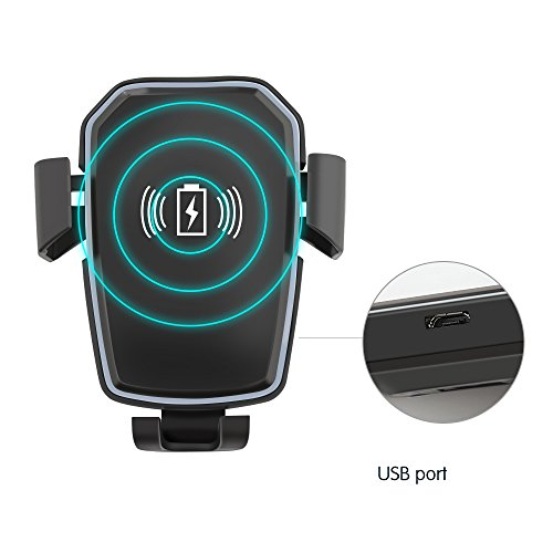 Qi Wireless Car Charger, BonFook 10W Fast Wireless Charger Gravity Car Mount Phone Holder for iPhone X/8/8 Plus, Samsung Galaxy S8, S7/S7 Edge, Note 8 and Other Qi Enabled Device by BonFook