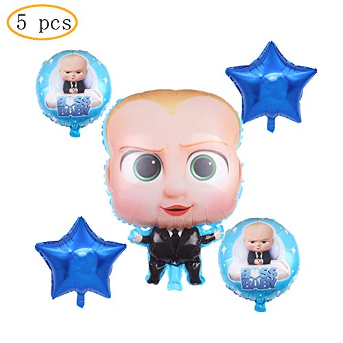 5 pcs baby boss Balloons Party Supplies,For baby boss Theme Birthday Party Decorations