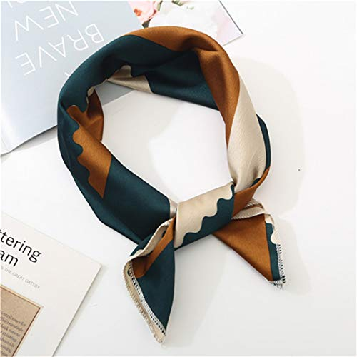 Square Scarf Hair Tie Band For Business Party Dots Print Women Elegant Small Vintage Skinny Retro Head Neck Silk Satin Scarf FJ165 coffee