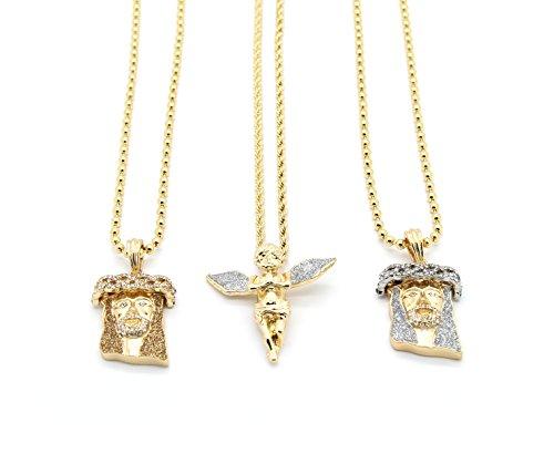 Mens 14k Gold Plated Angel & Jesus Stardust Bundle 6pcs Includes 3 Pendants & 3 Rope Chains