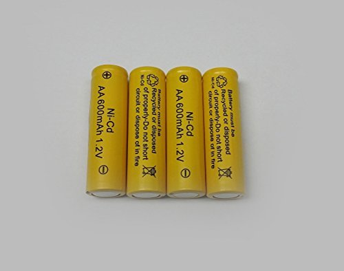 AA Ni-Cd 600mAh Yellow Rechargable Batteries Perfect for Solar Powered Units (12-Pack)