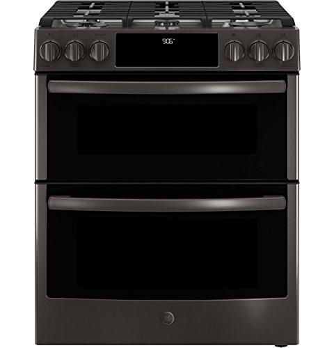 Griddle Top Single Oven Range - GE Profile PGS960BELTS 30 Inch Slide-in Gas Range with Sealed Burner Cooktop in Black Stainless Steel