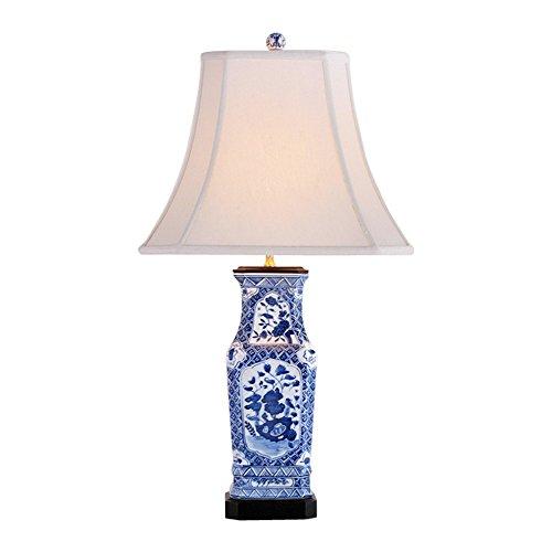 Porcelain Vase Table Lamp - Blue and White Rectangular Floral Porcelain Vase Table Lamp 28