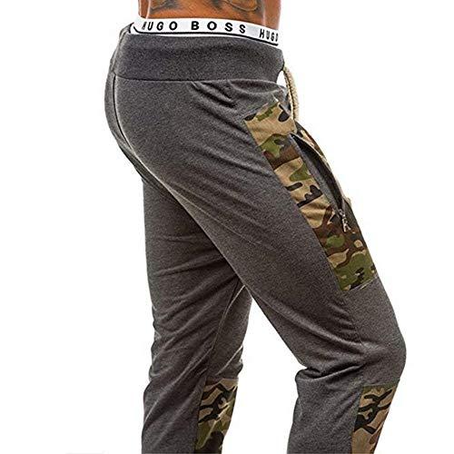 Camuflaje Lanceyy Algodón Hombres Fit Simple Estilo Pantalones Con Casual De Slim Dunkelgrau Cordón Patchwork Deportivos Joggers rr0EUCnwq