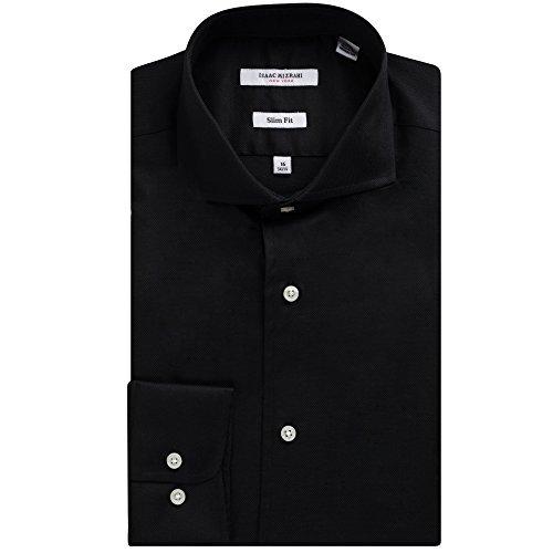 (Isaac Mizrahi Men's Slim Fit Long Sleeve Cotton Pique Dress Shirt - Colors (16.5 32/33, Black))