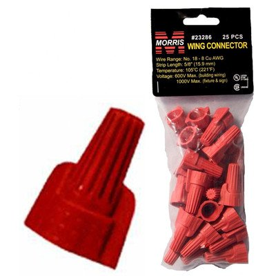 Morris 23286 Wing Twisted Connector Number-18 Thru 8 AWG Wire Range, Red, 25-Pack (Number 8 Wire)