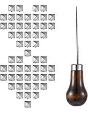 400 Pieces 10 mm Four-Jaw Square Rivets Leather Clothing Shoes Rivet Handicraft DIY Spikes Spots Pyramid Rivet Studs Accessories with Straight Tipped Scratch Awl Craft Tool, Silver