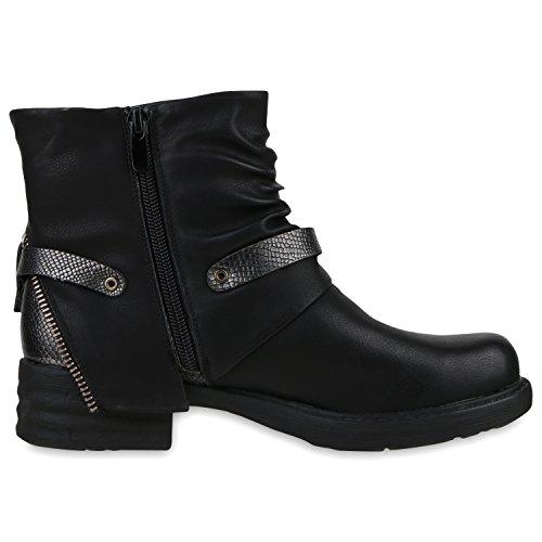 napoli-fashion - botas estilo motero Mujer negro