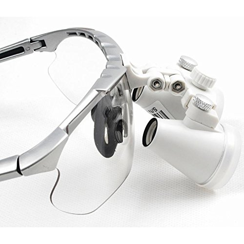 New Design Silver 35X Dental Surgical Binocular Loupes Dentist Magnifier 420mm with LED