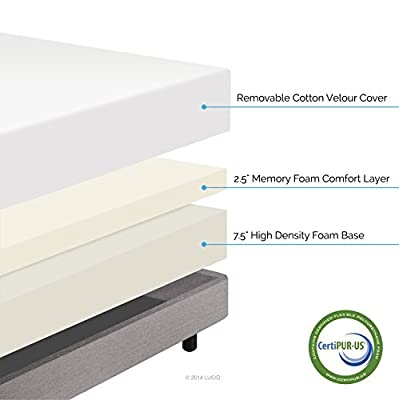 LUCID 10 Inch Memory Foam Mattress - Dual-Layered - CertiPUR-US Certified - 25-Year Warranty - QUEEN