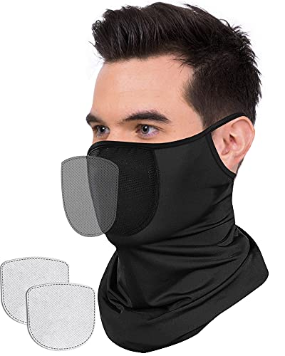 Bandana Face Mask with Filter & Ear Loop, Breathable Balaclava Face Scarf for Men & Women, Washable Neck Gaiter Headwear Face Covering, Cooling Ice Silk UV Dust Protection Snoods Mask for Outdoors