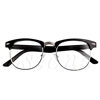43277f4254a0 BuyWorld 1PC Fashion Metal Half Frame Glasses Frame Retro Woman Men Reading  Glass UV Protection Clear Lens Computer Eyeglass Frame: Amazon.in: Home &  ...