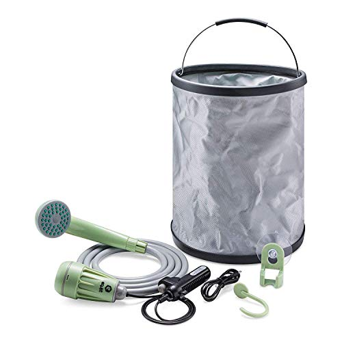 Equipt Streamline Portable Camping Shower with Expandable 4 gallons Bucket Removable Hose - Compact for Outdoor Activities ()