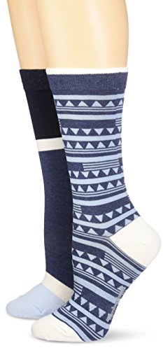 Timberland Womens Geo Pattern and Color Blocked Crew Sock 2-Pack Assorted Dark Sapphire Heather