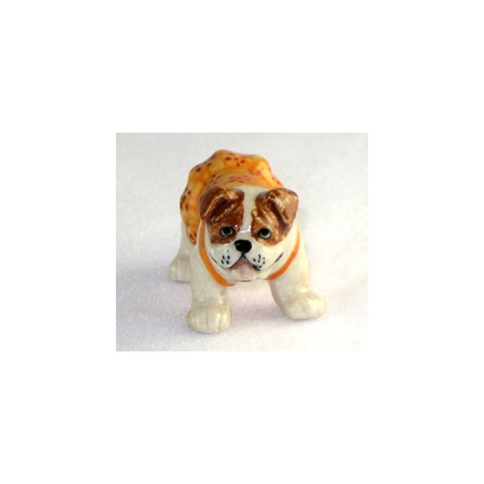 English BULLDOG Brown Orange/Flower Jumper Dress w/Panties SUPER MINIATURE New Porcelain KLIMA L895A