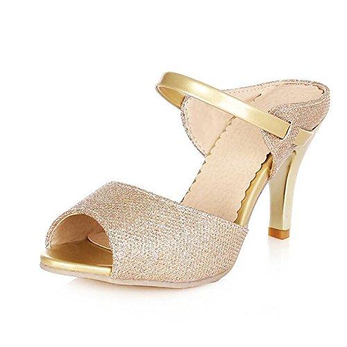 pu donna pompa ZHZNVX bianco Scarpe Gold Stiletto base Heel Estate sandali Comfort per oro della Primavera Casual 5q5EY