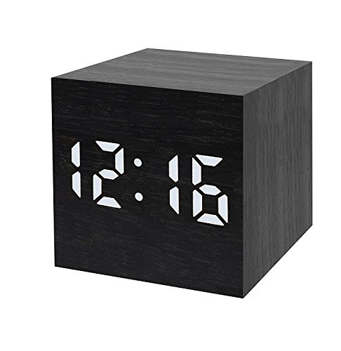 ILSELL USB Retro Cubic Wooden Digital Temperature Time Date Display Vioce Control Cube Travel Alarm Clock for home, office, kids