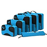FOREGOER 5 Set Packing Cubes Travel Luggage Organizers with Laundry Bag – Blue