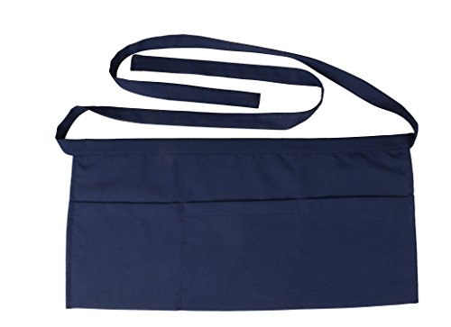 SEW UR LIFE Waterdrop Resistant 3 Big Pockets Navy Waist Apron (2 Set) Kitchen Restaurant Bistro Cafe Bar Pub Cake Shop Bakery Unisex Half Aprons for Chef, Baker, Servers, Waitress, Waiter