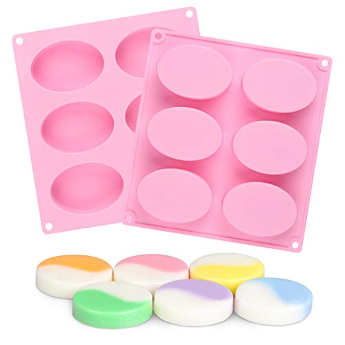 2pcs SJ Oval Silicone Molds, 6-Cavity 3.5oz Bar Oval Molds for Soap Making, Loaf Muffin Baking Pans, Chocolate Cheesecake Making Trays, Nonstick & BPA Free (Pink)