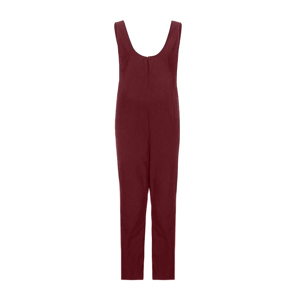Ladies Jumpsuits and Rompers,POTO Women Sleeveless Dungarees Loose Cotton Playsuit Jumpsuit Long Pants Romper Overalls