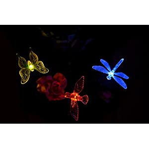 Solaration 1004S Solar Garden Stake Lights with Hummingbird, Dragonfly and Butterfly