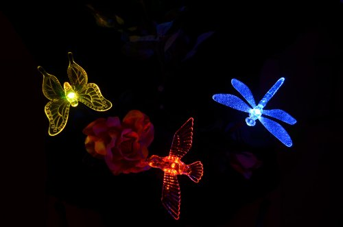 Solaration-1004S-Solar-Garden-Stake-Lights-with-Hummingbird-Dragonfly-and-Butterfly