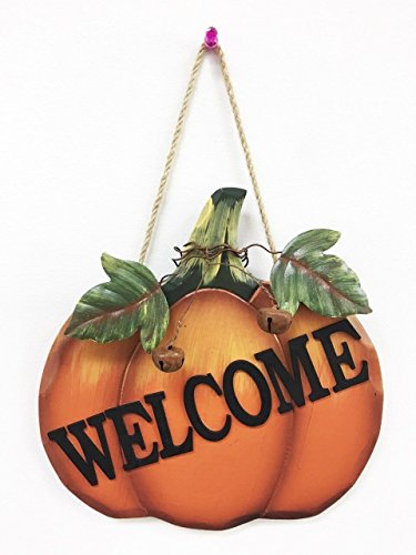 Welcome Wood Pumpkin Harvest Hanging Sign Country Thanksgiving Fall Halloween Seasonal Decor (Pumpkin Lenox)
